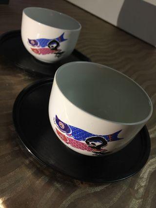 🚚 日式鯉魚旗茶杯(付托盤)