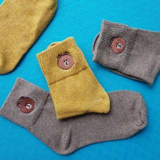 Line Bear Socks