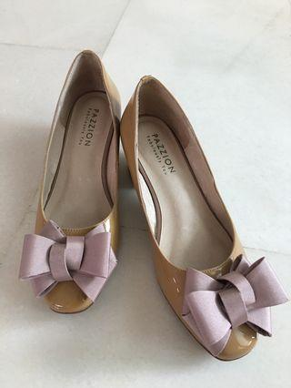 Pazzion Patent Bow Heels Nude Color Leather
