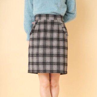 🚚 日單 OLIVE 格紋木耳邊口袋毛呢半身短裙 日系