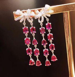紅寶石鑽石耳環