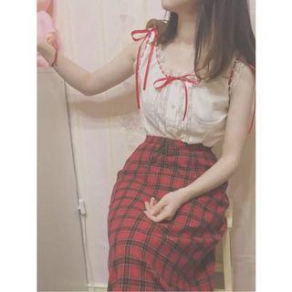 🚚 古著 紅格裙 Jk 包臀裙 日本復古