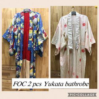 FOC Preloved 2 pcs of Ladies Yukata bathrobe