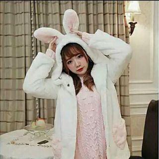 🚚 Bobon21 兔子 外套 日系 軟妹 毛絨絨 白色外套 動物外套