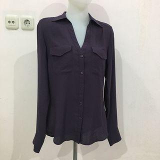 No Brand Dark Purple Button Down V Neck Shirt (atasan Wanita)