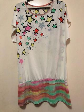 Star Printed Dress Top