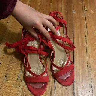 NOVO Mina Lace Up/ Strappy Heels Scarlet