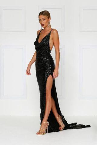 Andriana Black Sequin Gown