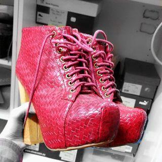 🔄Red Platform Wooven Heels Boots