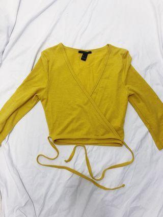 Yellow wrap crop top