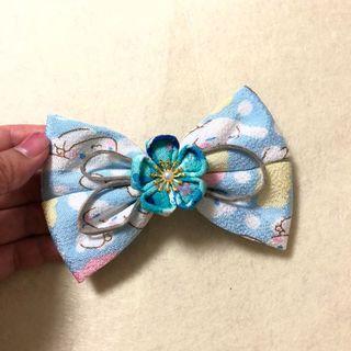 六一特價🌿手作 白色淺藍天藍色 玉桂狗花布 小梅花 大蝴蝶結 🎀 和風髮夾🌺