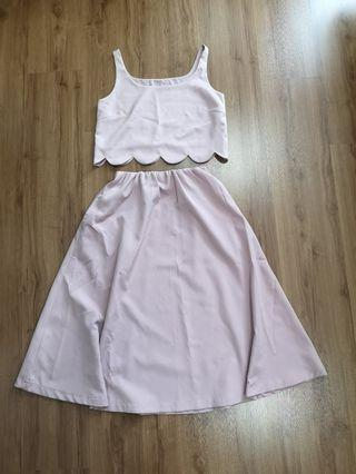 Pink crop top and skirt