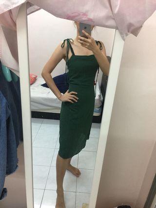 Green elegant midi dress