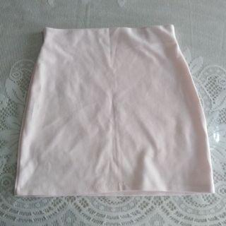 Korean baby pink a-line skirt