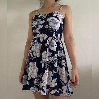 ⭐️ Blue Floral Padded Dress