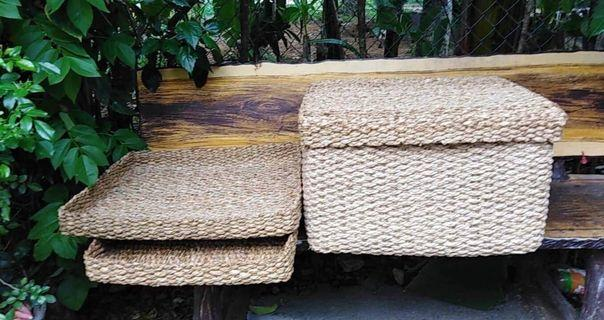 Native Rectangular Trays/Basket with Covers
