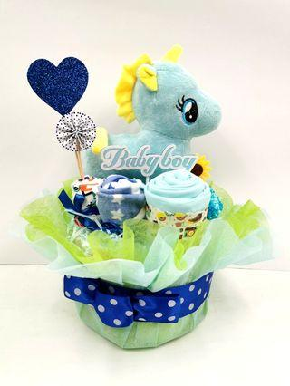 Diaper Cake Blue Unicorn Baby Boy Hamper
