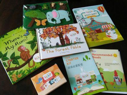 🚚 NEW NLB tote bag w activity & story books, felt board & puzzle cards