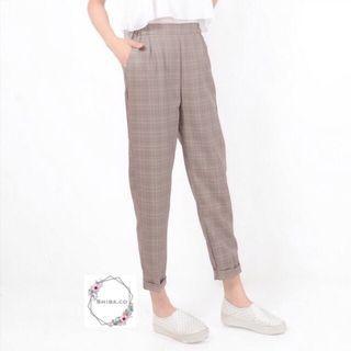 Celana panjang wanita kotak tartan pants