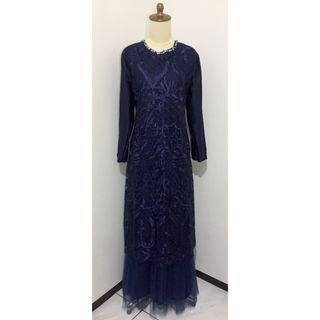 Dress gaun pesta biru dongker navy