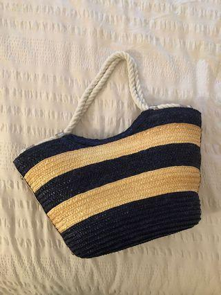 Navy & cream beach bag