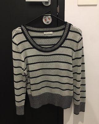 Grey & Black Stripe Crop Jumper - S