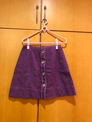 🚚 紫色排扣 A 字裙/短裙
