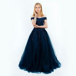 Simple Navy Off Shoulder Wedding & Evening Gown for Rent