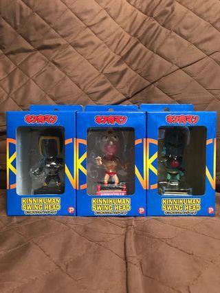 全新  日版 POPY廠 2005 Kinnikuman Swing Head 筋肉人 Robin mask 羅賓假面 Warsman 戰爭人 搖頭公仔 13.5cm高 Figure 景品 全3種