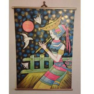 EXQUISITE LADY WITH FLUTE OIL PAINTING ON CANVAS