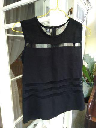 Cute see through sleeveless black top