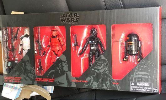 Star Wars Black Series 6 Inch Set 4 : Sergeant Sandtrooper / Crimson Stormtrooper Rogue / Lieutenant Oxixo Tie Fighter Pilot / R2-Q5