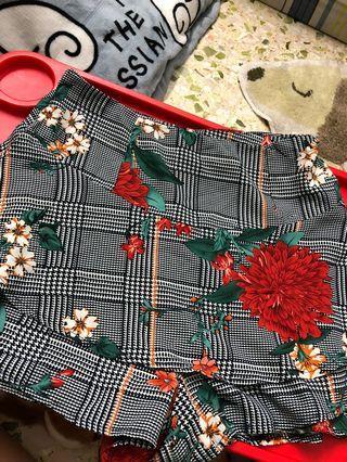 Floral Houdstooth Pants