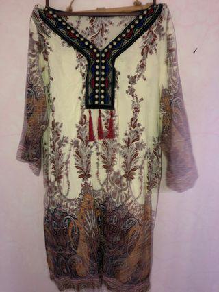 Cream Batik / Mandala Motif Top