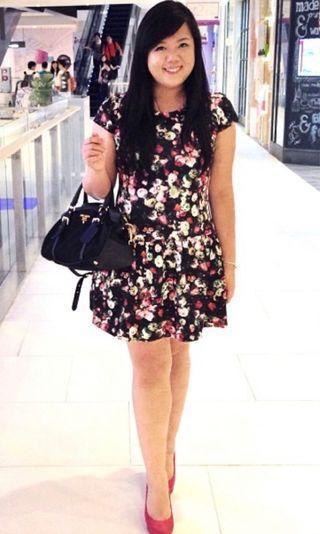 1214 Alley dark blue floral dress