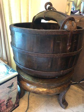 Antique Wooden water bucket - handcrafted in China.