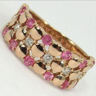 18k Pink Sapphire & Diamond Ring - Pink / Rose Gold