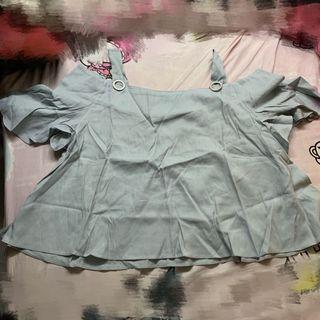 全新5折Air Space灰藍色荷葉袖寬闊衫