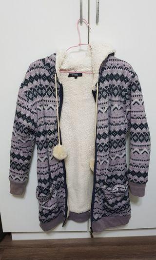 印花紫舖毛長版外套