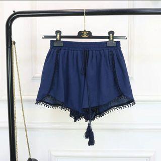 夏季韓式百搭寛鬆闊腿高腰短褲