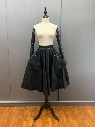 CK CALVIN KLEIN Black Z twist flared skirt