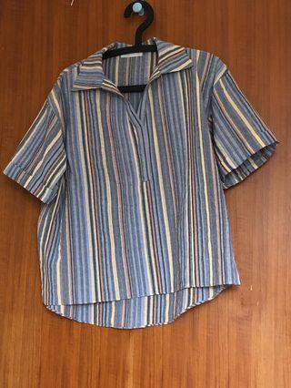 韓國買的藍色民族風襯衫 穿一次