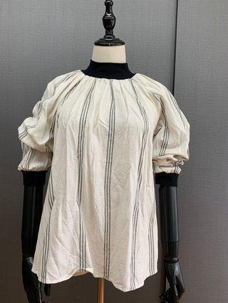 ZARA Trf beige and black stripes linen top