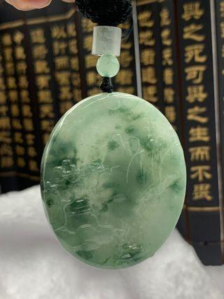 A Grade Burmese Jadeite 天然翡翠山水牌, 飘蓝花