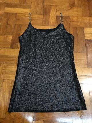 Black shimmer/ sequin spaghetti top