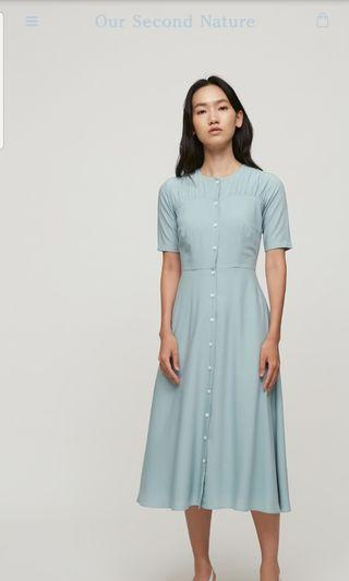 OSN Our Second Nature Contrast Button Midi Dress Size M