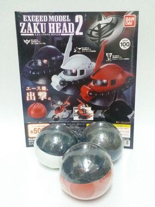 高達扭蛋全新港版未拆渣古頭 Exceed model Zaku Head part2 全3種連機頭纸一張