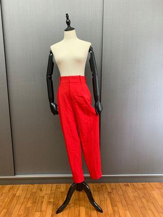 ZARA Red high waisted trousers