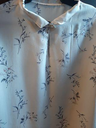 Floral chinese collar top