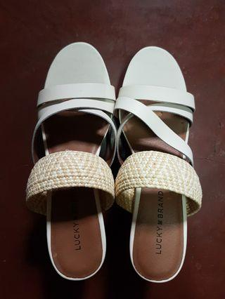 Lucky Brand White Strappy Wedge